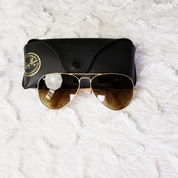 0c1a6e1ee56 Ray-Ban Gold Aviator Brown Gradient Sunglasses